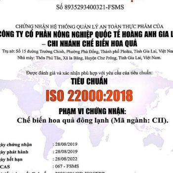Mẫu giấy chứng nhận ISO 22000:2018